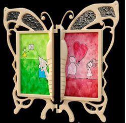 butterfly frame model file cdr and dxf free vector download for CNC cut