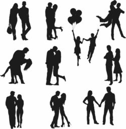 couples in love file cdr and dxf free vector download for Laser cut Plasma file Decal