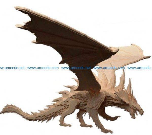 dragon file cdr and dxf free vector download for Laser cut