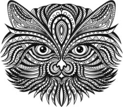 ethnic cat file cdr and dxf free vector download for Laser cut