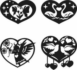 heart valentine's day  file cdr and dxf free vector download for Laser cut Plasma