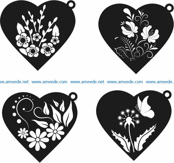 pendant heart file cdr and dxf free vector download for laser engraving machines