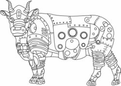 steampunk cow file cdr and dxf free vector download for laser engraving machines