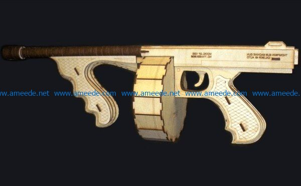 tommy gun file cdr and dxf free vector download for Laser cut