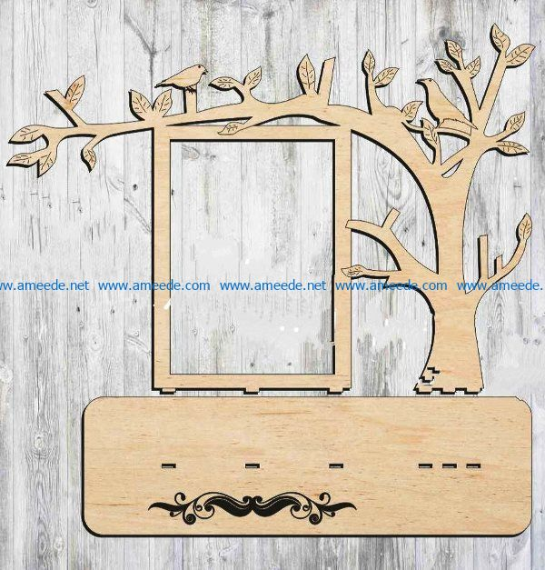 tree frame file cdr and dxf free vector download for Laser cut