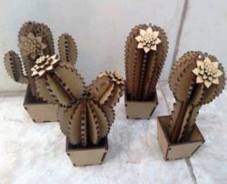 wooden cactus file cdr and dxf free vector download for Laser cut
