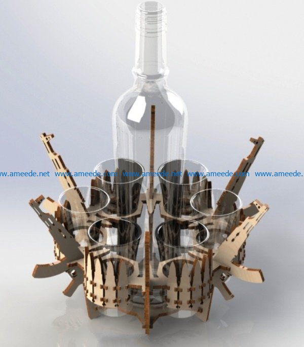 Gun minibar file cdr and dxf free vector download for Laser cut