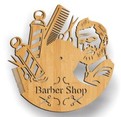 Barber shop wall clock file cdr and dxf free vector download for Laser cut