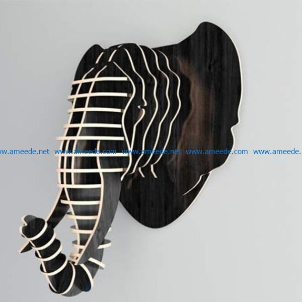 3D African elephant file cdr and dxf free vector download for Laser cut CNC