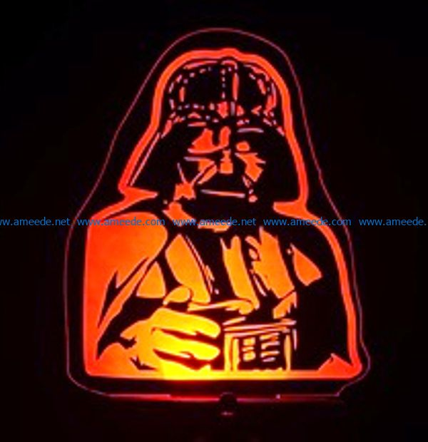 3D illusion led lamp Darth Vader free vector download for laser engraving machines