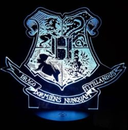 3D illusion led lamp Hogwarts school character free vector download for laser engraving machines