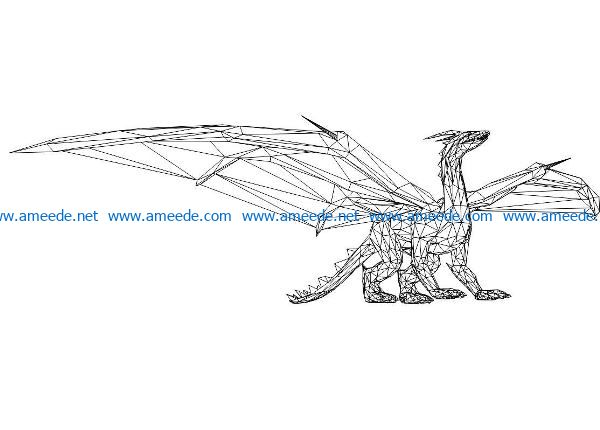 3D illusion led lamp dinosaur has wings free vector download for laser engraving machines