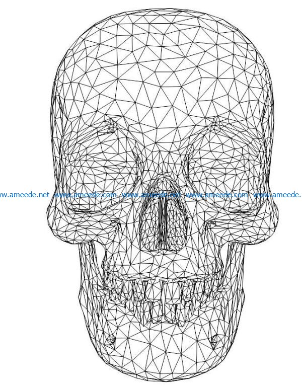 3D illusion led lamp human skullfree vector download for laser engraving machines
