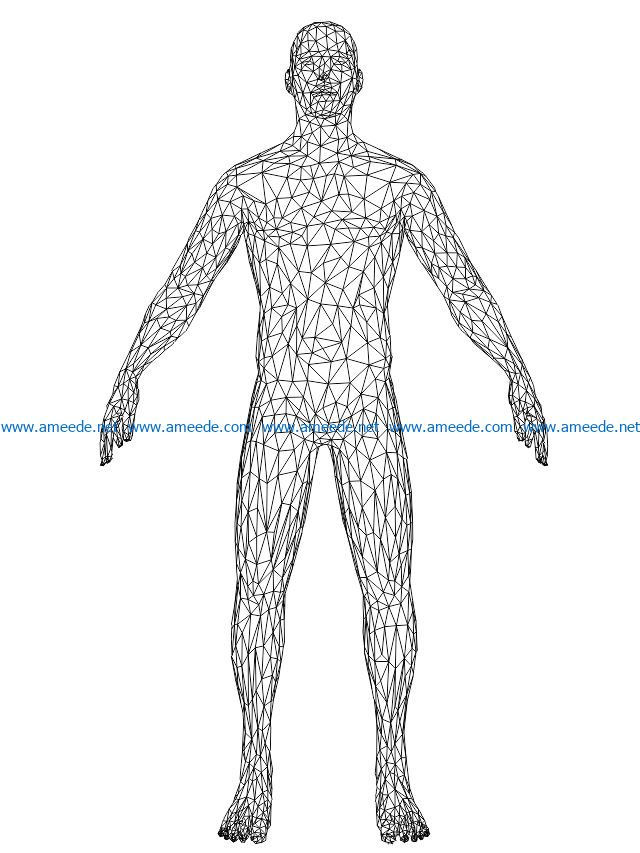 3D illusion led lamp man body free vector download for laser engraving machines