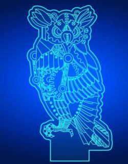 3D illusion led lamp owl free vector download for laser engraving machines