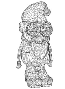 3D illusion led lamp santa minion free vector download for laser engraving machines