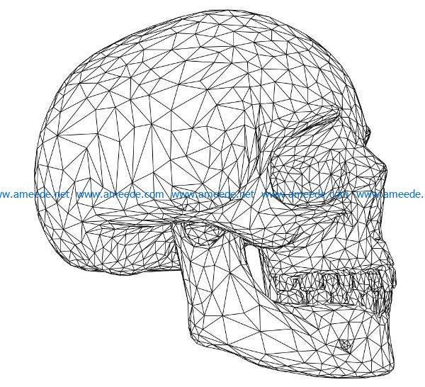 3D illusion led lamp skull free vector download for laser engraving machines