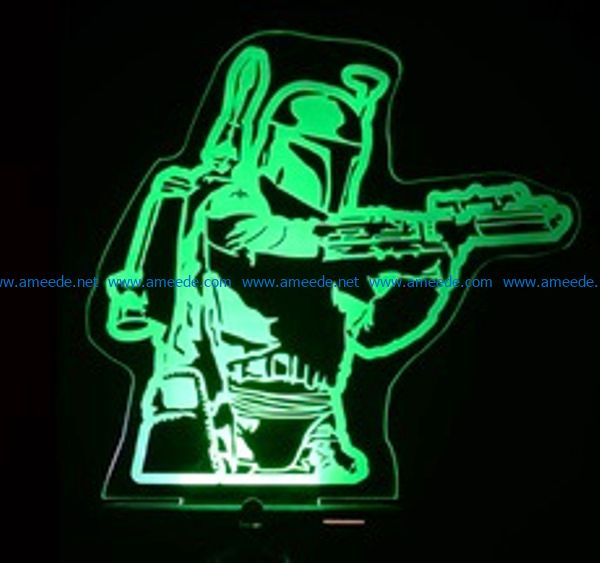 3D illusion led lamp star war free vector download for laser engraving machines