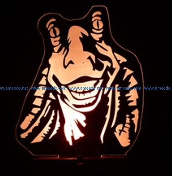 3D illusion led lampStar war character free vector download for laser engraving machines