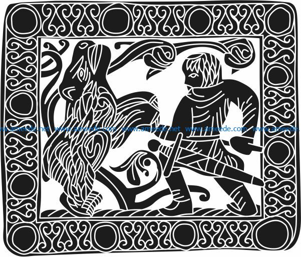 A picture of fighting with a tiger file cdr and dxf free vector download for Laser cut Plasma