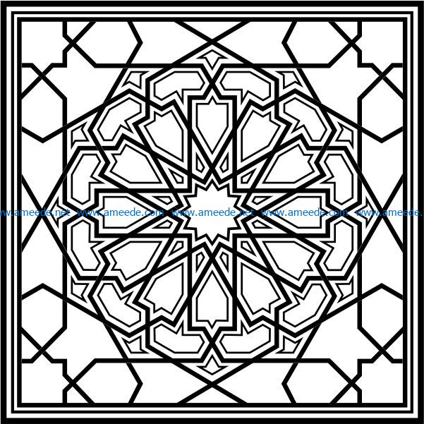 Arabesque to Cut file cdr and dxf free vector download for Laser cut