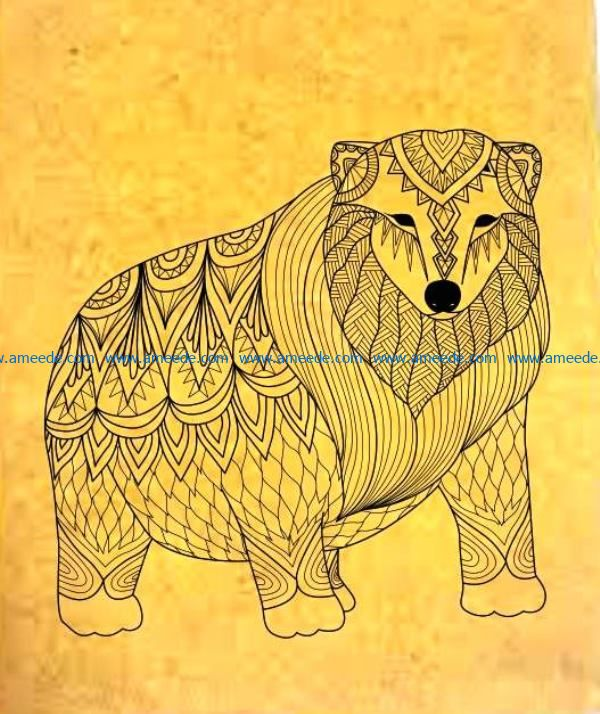 Big Bear file cdr and dxf free vector download for laser engraving machines