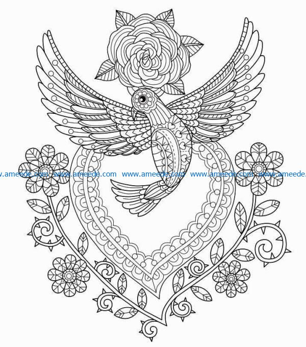 Bird and flower file cdr and dxf free vector download for laser engraving machines