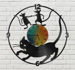 Cat and mouse wall clock file cdr and dxf free vector download for Laser cut