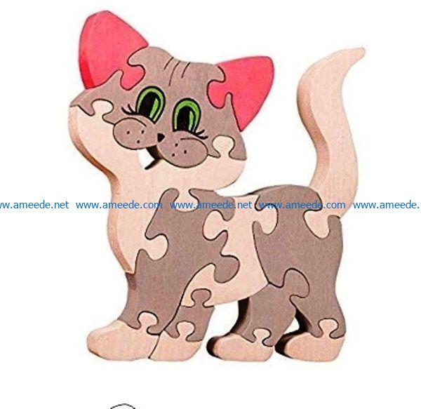 Cat puzzle file cdr and dxf free vector download for Laser cut