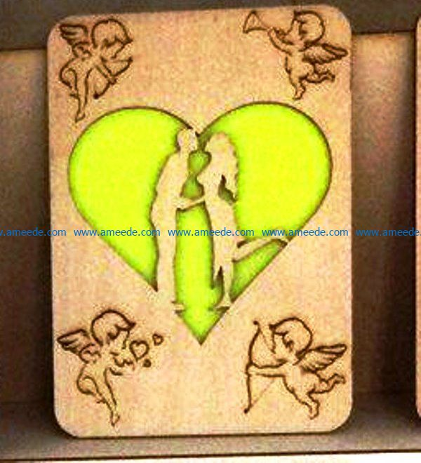 Couple postcards file cdr and dxf free vector download for Laser cut