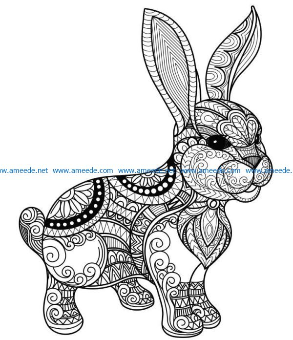 Cute bunny file cdr and dxf free vector download for laser engraving machines