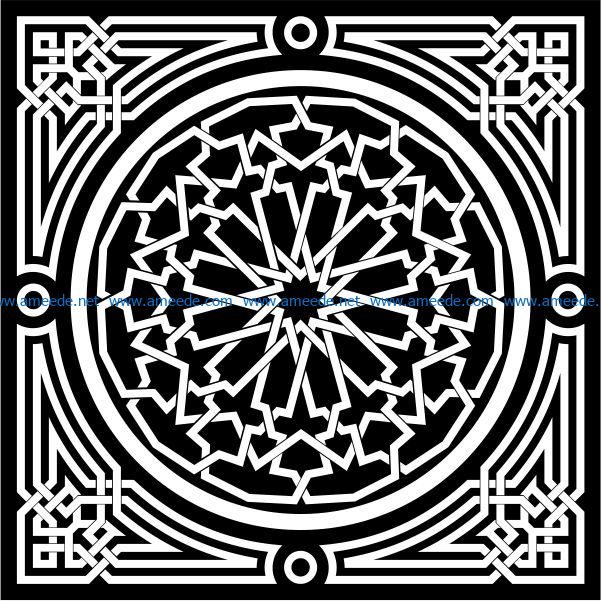 Decorative Arabic squares file cdr and dxf free vector download for Laser cut