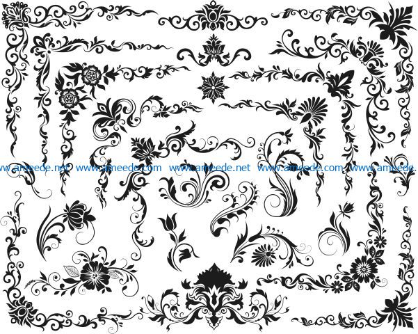 Decorative elements file cdr and dxf free vector download for laser engraving machines