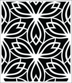 Decorative pattern in rectangle file cdr and dxf free vector download for Laser cut