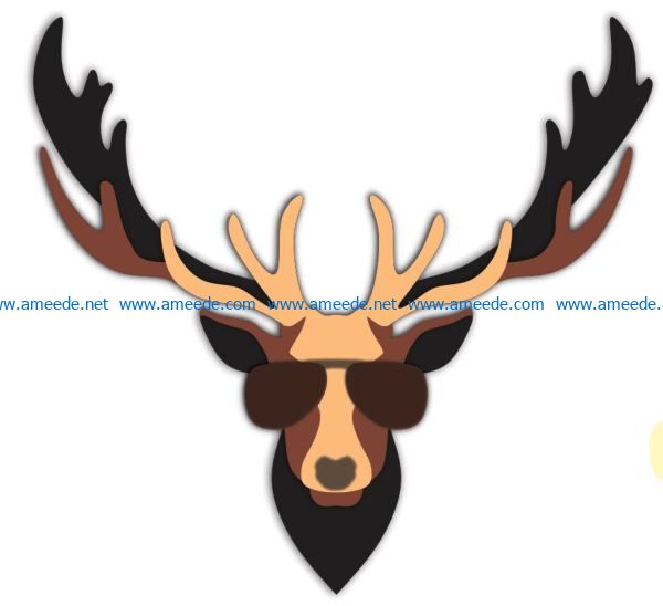Deer wearing glasses file cdr and dxf free vector download for Laser cut