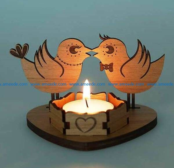 Double bird candlesticks file cdr and dxf free vector download for Laser cut