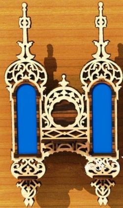 Double shelves with mirrors  file cdr and dxf free vector download for Laser cut CNC