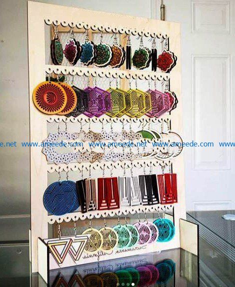 Earring shelf file cdr and dxf free vector download for Laser cut
