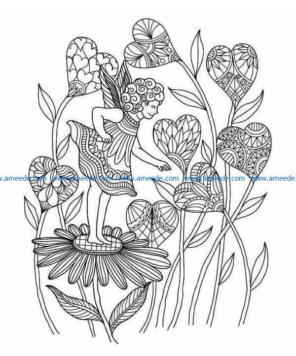 Fairy with heart flowers file cdr and dxf free vector download for laser engraving machines