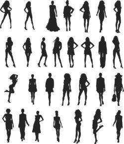 Female silhouettes file cdr and dxf free vector download for Laser cut Plasma