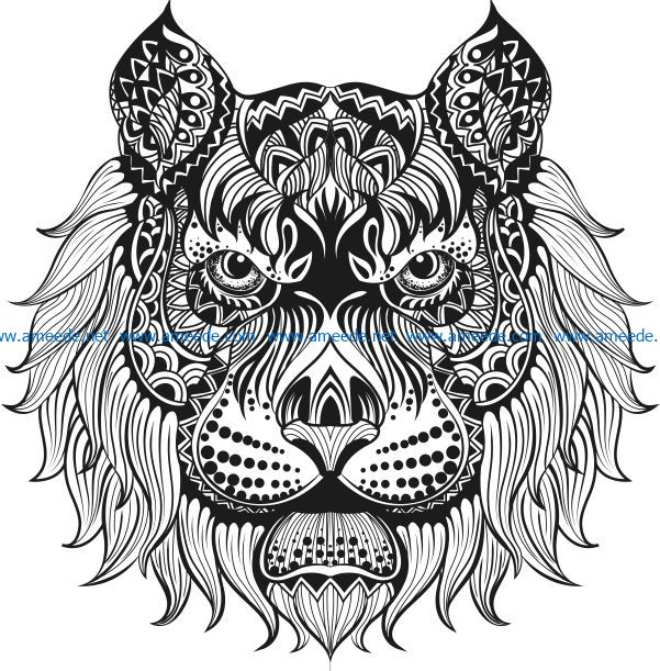 Floral Lion file cdr and dxf free vector download for laser engraving machines