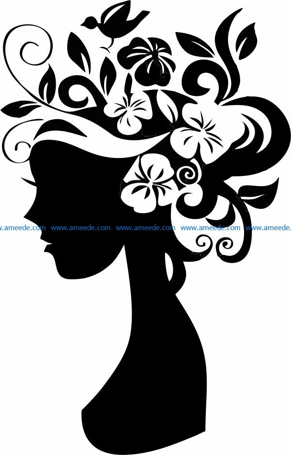 Girl with flowers on her head file cdr and dxf free vector download for laser engraving machines