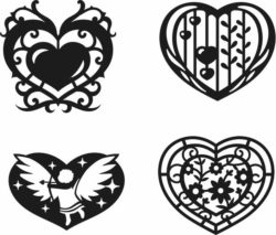 Heart set February 14  file cdr and dxf free vector download for Laser cut