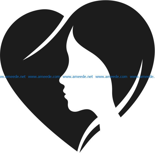 Heart with girl file cdr and dxf free vector download for Laser cut