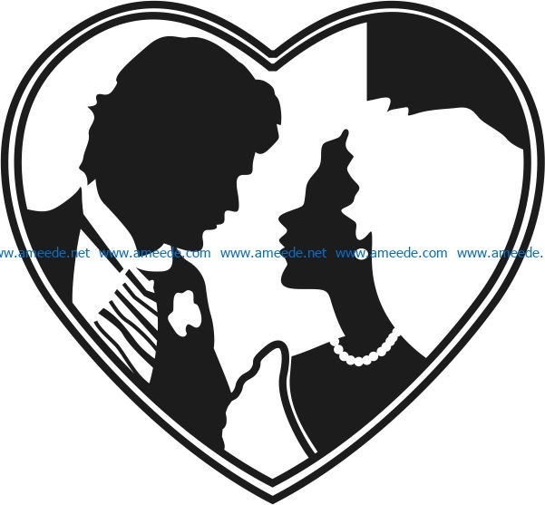 Heart with the bride and groom file cdr and dxf free vector download for Laser cut
