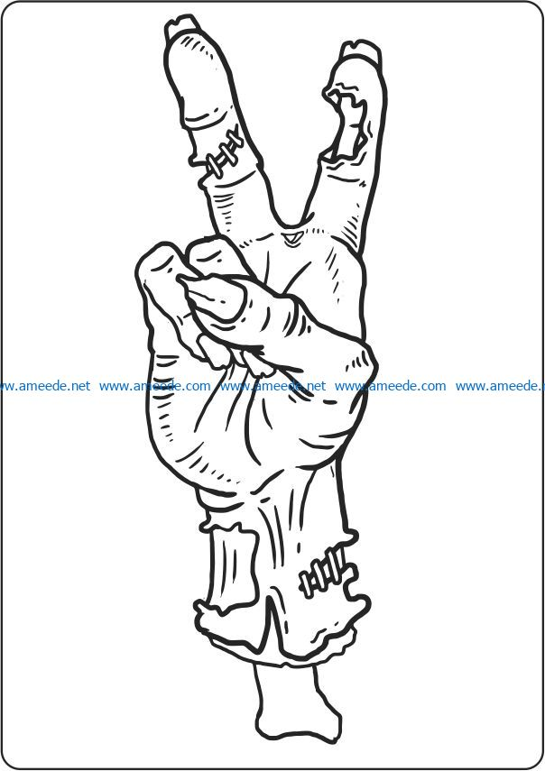 Horror hand file cdr and dxf free vector download for laser engraving machines