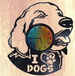 I love dog wall clock file cdr and dxf free vector download for Laser cut