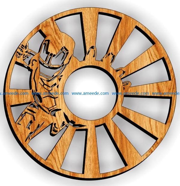 Iron man wall clock file cdr and dxf free vector download for Laser cut