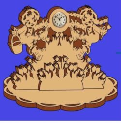 Jack and Jill clock file cdr and dxf free vector download for Laser cut