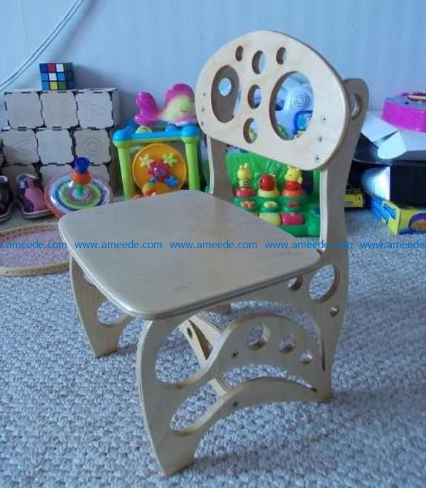 Kid's chair file cdr and dxf free vector download for Laser cut